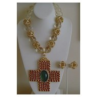 Valentino Runway Lucite and Gold-Tone Necklace and Earring Set
