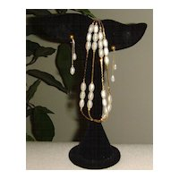 Gold-Tone and Simulated Fresh Water Pearl Necklace and Earring Set