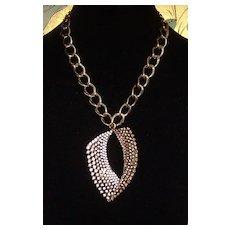 Gold-Tone and Rhinestone Pendant Necklace