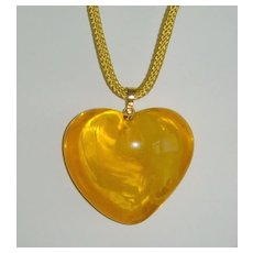 Lucite Puffed Heart Shaped Pendant