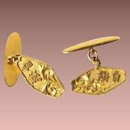 Vintage 22kt Yellow Gold Chinese Auspicious Character Dress Cuff Links