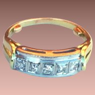 Art Deco 14k Yellow Gold Platinum Diamond Ring in Original Celluloid Box sz5