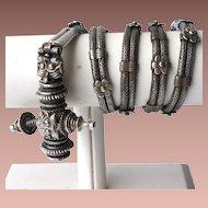 Early 20thc India Woven Silver Kandora Girdle Andra Pradesh Protective Amulet Belt
