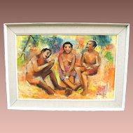 Vintage c1967 Mid Century Abstract Modern Nude Eli Kyeyune Oil on Board