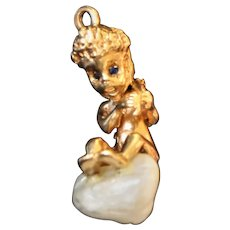 William Ruser signed Designer 18k gold figural Charm Pendants Thursday's Child Cherub c1940