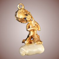 William Ruser signed Designer 18k gold figural Charm Pendants Saturday's Child Cherub c1940