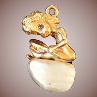 William Ruser signed Designer 18k gold figural Charm Pendants Monday's Child c1940