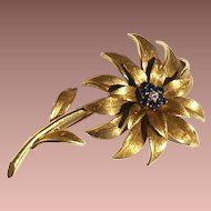 Mid Century Signed Tiffany & Co. 18k Italian Yellow Gold Sapphire and Diamond Flower Brooch Original Box