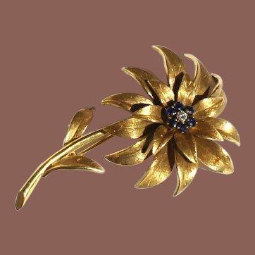Mid Century Signed Tiffany & Co. 18k Italian Yellow Gold Sapphire and Diamond Flower Brooch Original Box
