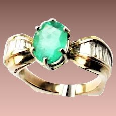 Estate 14k Yellow Gold 2.4ct Emerald and Diamond Ring sz7.25 apprs'd $4500