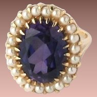 Gorgeous Estate 14k Yellow Gold Princess Color Change Sapphire & Pearl Cocktail Ring sz8
