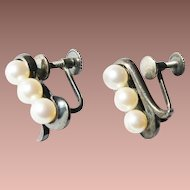 Vintage Japan Sterling Silver 5mm Akoya Cultured Pearl Screw Back Earrings