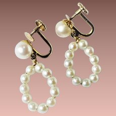 Estate 14kt Yellow Gold Cultured Pearl Hoop Drop Screwback Earrings c1950