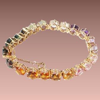 Estate 14k Gold Brazilian 1ct ea Line Tennis Bracelet Tourmaline, Beryl, Amethyst, Topaz, Garnet, Morganite etc...