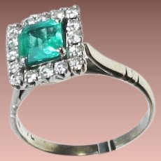 Antique Ostby Barton Platinum Emerald Diamond Cocktail Ring c1915