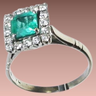 SALE Antique Ostby Barton Platinum Emerald Diamond Cocktail Ring c1915