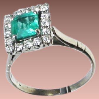 Antique Ostby Barton Platinum Emerald Diamond Cocktail Ring c1915