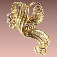 Art Deco 18-22k Gold Continental Diamond Ribbon Scroll Coat Brooch c1930 26gr