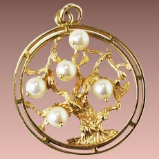 Vintage Estate Lg 14k Gold Tree of Life Pendant Charm Dankner style un signed 11.7gr