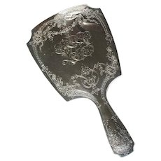 Art Nouveau Sterling Silver Gorham Engraved Large Vanity Hand Mirror Rococo - Red Tag Sale Item