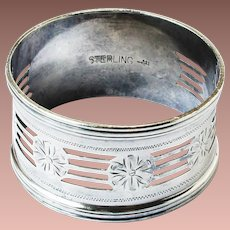 Victorian Sterling Silver Reticulated Webster Engraved Napkin Ring L de E