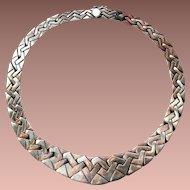 Mid Century Modern c1940-60 Mexico HEAVY BOLD Sterling Silver Interlocking Link Collar Necklace