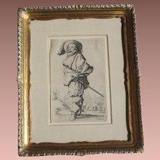Antique Baroque Engraving Jacques Callot 1592-1635 La Gentil Homme au Plastron de Fourrure - Framed