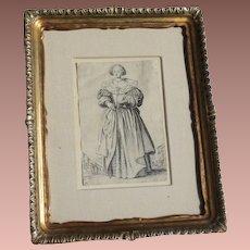 Antique Baroque Engraving Jacques Callot 1592-1635 La Noblesse: La Dame a L'Eventail - Framed