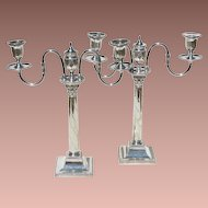 Pair Antique Georgian George III Silver on Copper Corintian Column Two Arm Candelabra Candlesticks