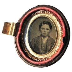 Victorian c1890 Ambrotype Photograph Young Boy Gutta Percha case as Found