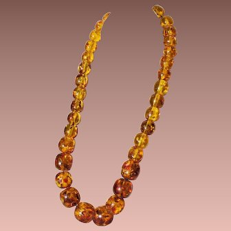 Vintage Mid Century Large Chunky Translucent Baltic Amber Bead Necklace