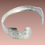 Vintage Hand Crafted Tlingit Sterling Silver Beaver Totem Cuff Bracelet Signed 'EAK 1991' Ed Kunz Juneau Alaska