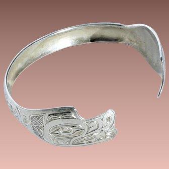 Vintage Tlingit Sterling Silver Ed Kunz Hand Crafted Bear Totem Cuff Bracelet Juneau Alaska