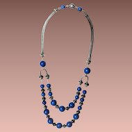 Art Deco Silver Lapis Lazuli Glass Bead Statement Necklace c1930