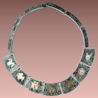 Vintage mid Century Mexican Sterling Silver Malachite Copper Inlay Zodiac Necklace