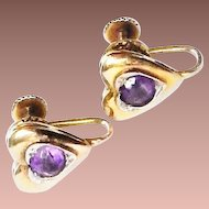 Vintage Late Art Deco 10k Yellow Gold .5ct ea Amethyst Puffy Heart Screwback Earrings