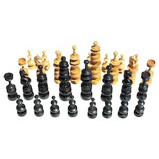 Vintage Anglo Indian Turned Wood Large Chess Set early 20thc in Cigar Box