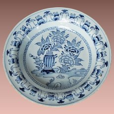Antique 18thc English Tin Glaze Hand Painted Chinoiserie Blue & White Delft Plate