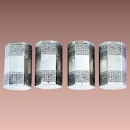 Vintage Persian 875/1000 Silver Hexagonal Set of Four Matched Salt Pepper Cruets