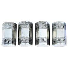 Vintage Persian 875/1000 Silver Hexagonal Set of Four Matched Salt Pepper Cruets 6oz