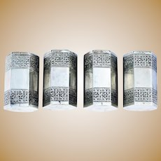Vintage Persian 875/1000 Silver Hexagonal Set of Four Matched Salt Pepper Cruets 6oz