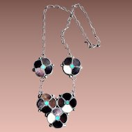 Vintage American Southwest signed Zuni Sterling Silver Abalone Turquoise Inlay Floral Necklace