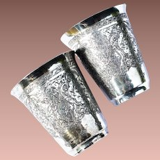 Vintage Persian Design Russian 84 Silver Engraved Pair of Vodka Shot Cups Tumblers