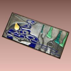 Mid Century Modern Italian Sterling Enamel Rosewood Ottaviani Smoking Box