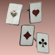 Art Deco Sterling Silver Enamel Card Game Gambler Suits Cufflinks