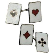 Art Deco Sterling Silver Enamel Card Game Gambler Suits Cufflinks