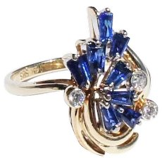 Vintage Estate 14k Gold Baguette Sapphire Diamond Cluster Cocktail  Ring sz 5 3/4