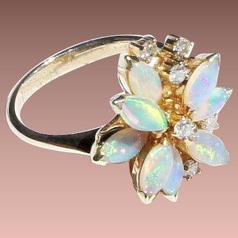 Vintage Estate 14k Gold Diamond Flower Form Opal Cocktail Ring sz 5 1/2