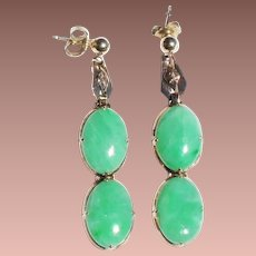 Chinese 14k Gold Apple Green Jade Articulated Cabochon Pendant Earrings