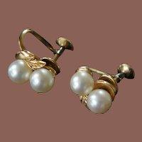 Vintage Mid Century 14k Gold Mikimoto 6mm Screwback Pearl Cluster Earrings Original Box
